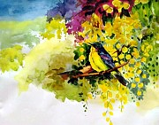 Bird On Tree Painting Prints - Prosperity Print by Donna Jolly Jacob