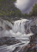 Waterfalls Paintings - Prosperity Falls by Dj Khamis