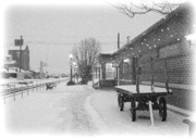 Wintry Photo Prints - Prosser Winter Train Station  Print by Carol Groenen