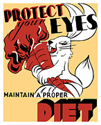 Proper Prints - Protect Your Eyes Maintain A Proper Diet Print by War Is Hell Store