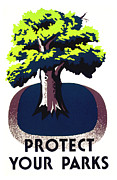 Works Mixed Media - Protect Your Parks WPA by War Is Hell Store