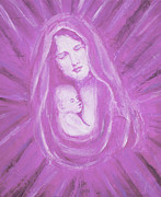 Jesus With A Child Paintings - Protecting Love Of the Mother  by The Art With A Heart By Charlotte Phillips