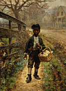 Wooden Painting Metal Prints - Protecting the Groceries Metal Print by Edward Lamson Henry