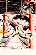 Goaltender Metal Prints - Protecting The Net Metal Print by Karol  Livote