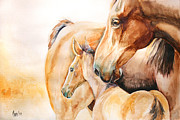 Horses Drawings - Protection by Cindy Elsharouni