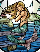 Mermaid Glass Art - Protection Island Mermaid by Gilroy Stained Glass