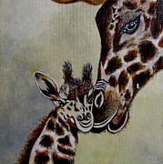 Mother And Baby Giraffe Paintings - Protection by Susan Duxter