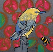 Bee Pastels Posters - Prothonotary Warbler and Roses Poster by Danyl Cook
