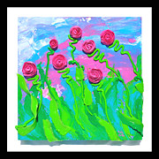 Impasto Sculpture Prints - Protruded Flowers Print by Ruth Collis