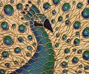 Cynthia Snyder Art - Proud as a Peacock 1 by Cynthia Snyder