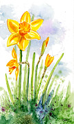 Daffodil Painting Framed Prints - Proud Daffodil Framed Print by Annie Troe