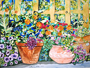 Impressionism Acrylic Prints Art - Proud Flower Pots by Esther Newman-Cohen