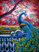 Cherry Blossoms Painting Originals - Proud Peacock by Sebastian Pierre
