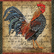 Coq Paintings - Proud Rooster-A by Jean Plout