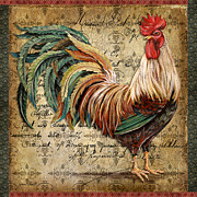 Coq Paintings - Proud Rooster-B by Jean Plout