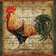 Coq Paintings - Proud Rooster-C by Jean Plout