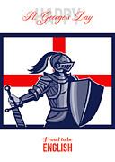 Proud To Be English Happy St George Day Card Print by Aloysius Patrimonio