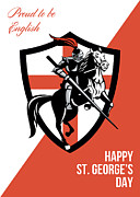 Proud To Be English Happy St George Day Retro Poster Print by Aloysius Patrimonio