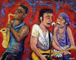 E Street Band Painting Metal Prints - Prove It All Night Bruce Springsteen and The E Street Band Metal Print by Jason Gluskin
