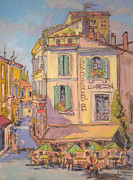 Brasserie Paintings - Provence Arles LAficion by Dorothy Fagan