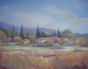 Provence Village Prints - Provence Autumn Fields  Print by Linda  Wissler