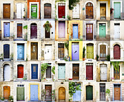 Provence Village Prints - Provence doors collage Print by Carme Martinez