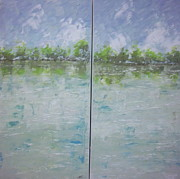 South Of France Painting Originals - Provence lake by Frederic Payet