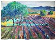 Landscapes Drawings - Provence lavender field by Eric  Schiabor