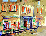 Old Buildings Mixed Media Prints - Provence Village Street Scene Print by Ginette Callaway