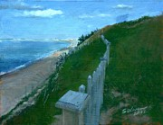 Cape Cod Paintings - Provincetown and Cape Cod Bay from Lookout Bluff by Peter Salwen