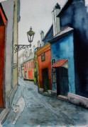 European Street Scene Paintings - Prowling in  Prague-SOLD by Lou Cicardo