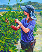 Grapevines Painting Originals - Pruning the Pinot by Derrick Higgins