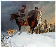 Equine Fine Art Prints - Prussian Cavalry Outpost in the Snow Print by Franz Kruger