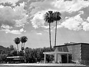 Gray Building Framed Prints - PS CITY HALL FRONT BW Palm Springs Framed Print by William Dey