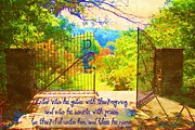 Painted Garden Gate Framed Prints - Psalm 100 4 Gate Framed Print by Michelle Greene Wheeler