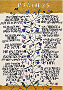Calligraphy Print Posters - Psalm 23 Poster by Dave Wood