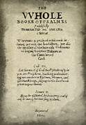 Books Of The Bible Framed Prints - Psalms Hand Written Book Plate 1640 Framed Print by Daniel Hagerman
