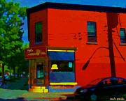 Point St. Charles Paintings - Psc Restaurant Paul Patates Poutine And Comfort Food Montreal Cafe Scene Carole Spandau by Carole Spandau