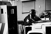 Violent Prints - PSNI officer in protective riot gear at landrovers on crumlin road at ardoyne shops belfast 12th Jul Print by Joe Fox