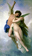 Bouguereau; William-adolphe (1825-1905) Paintings - Psyche and Love by William-Adolphe Bouguereau