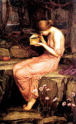 Pre-raphaelites Posters - Psyche Opening the Golden Box 1903 Poster by John William Waterhouse