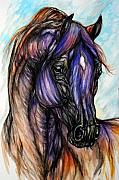 Horse Drawings - Psychedelic Blue And Orange by Angel  Tarantella