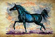 Horse Drawings - Psychedelic Blue by Angel  Tarantella