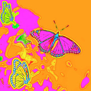 1960 Mixed Media Posters - Psychedelic Butterflies Poster by Marianne Campolongo
