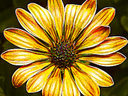 Photomanipulation Photo Prints - Psychedelic Daisy in Yellow Print by ABeautifulSky  Photography