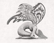 Wings Drawings - Psychedelic Fairie by Stephen Brissette
