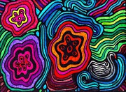 Modern Abstract Art Drawings - Psychedelic Garden 2 by Sarah Loft