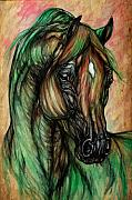 Wild Horse Drawings Posters - Psychedelic Green And Pink Poster by Angel  Tarantella