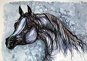 Wild Horse Drawings Posters - Psychedelic Grey And Blue Poster by Angel  Tarantella