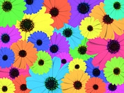Blooming Digital Art - Psychedelic Marigold Flowers by Lusoimages  